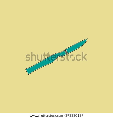 scalpel Flat line icon on yellow background. Vector pictogram with stroke - stock vector