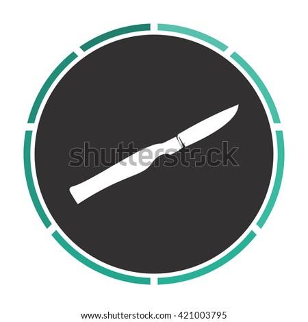 scalpel Simple flat white vector pictogram on black circle. Illustration icon - stock vector
