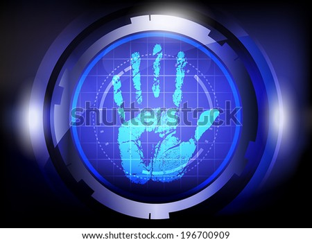 scan hand print technology on blue background. - stock vector