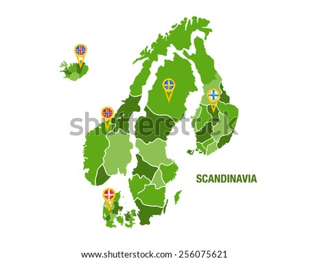 Scandinavia map with flags - stock vector