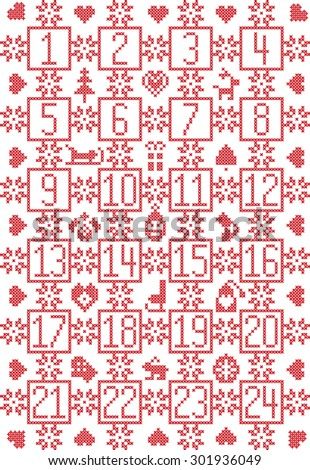 Scandinavian inspired by Nordic Christmas advent calendar with decorative elements such as snowflakes, decorative ornaments, bauble reindeer, sleigh, Santa, skate, heart, hat, glove in cross stitch   - stock vector