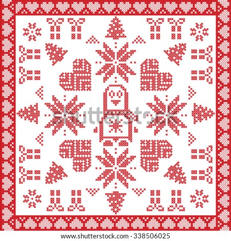Scandinavian Nordic winter cross stitch, knitting  Christmas pattern in  square, tile  shape including snowflakes, stars, Christmas gifts, Christmas trees, penguin,  and  in red and white    - stock vector