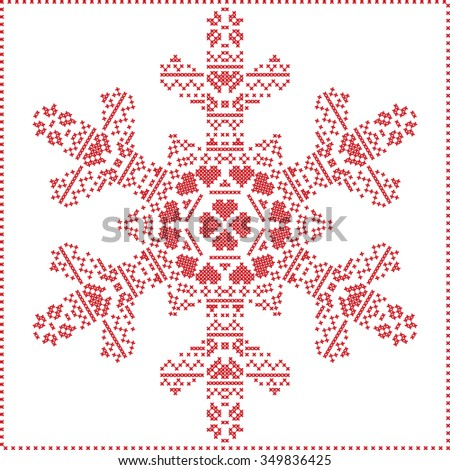 Scandinavian Nordic winter cross stitching, knitting  christmas pattern in  in  snowflake shape , with cross stitch frame including snow, hearts, stars, decorative elements in red on white background  - stock vector