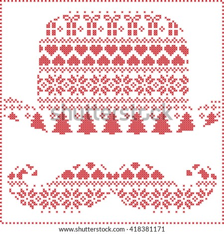 Scandinavian Nordic winter stitching  knitting  christmas pattern in  hipster mustache  & hat  shape including snowflakes, hearts, trees christmas presents, snow, stars, decorative ornaments on white - stock vector