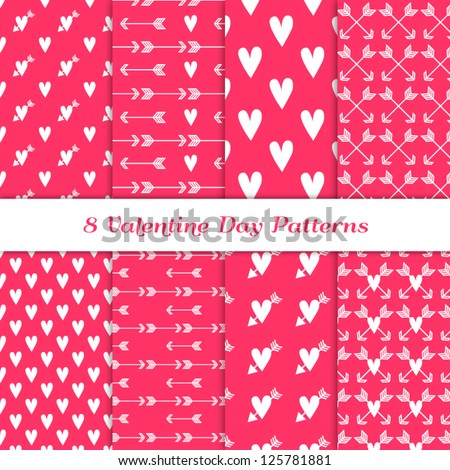 Scandinavian Style Valentine Backgrounds. 8 Seamless Patterns with Hearts and Arrows in Deep Pink, White. Pattern Swatches Included. Global colors - makes it easy to change all patterns in one click. - stock vector