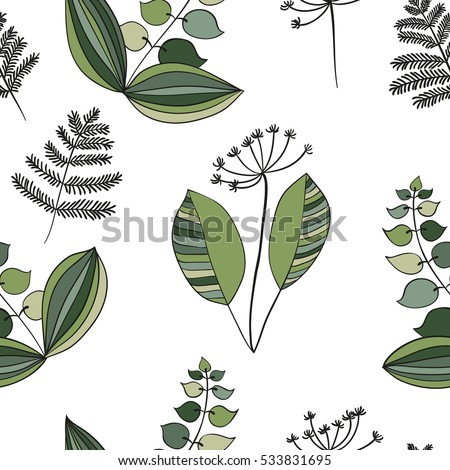 Scandinavian vector floral seamless pattern. Simple hand drawn elements in nordic style. Repeating tileable composition for your design.