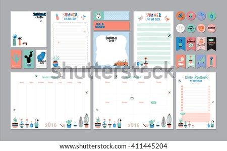 Scandinavian Weekly Daily Planner Template Organizer Stock Vector