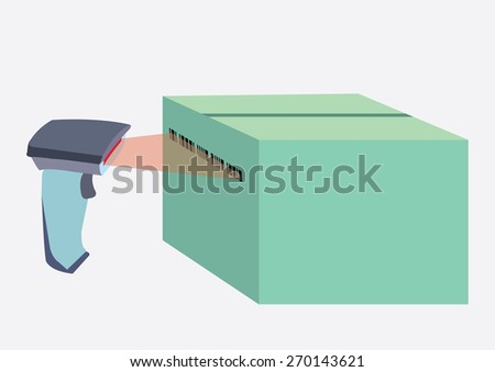 Scanner and scans barcode with laser, vector illustration - stock vector
