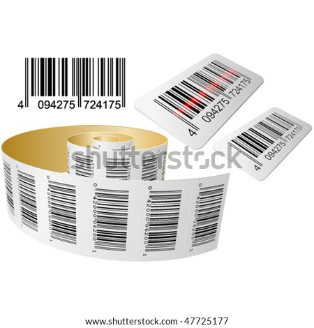 Scanning a Bar code with roll isolated on the white - stock vector