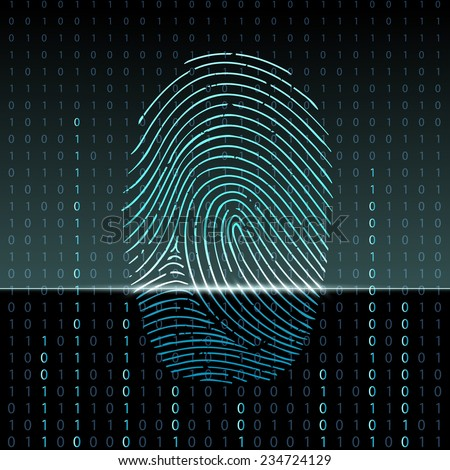 Scanning fingerprint. Protection and storage of information. Technology background. Binary code. Stock vector illustration. - stock vector