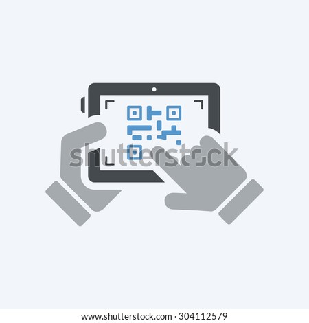 Scanning qr code with tablet - stock vector