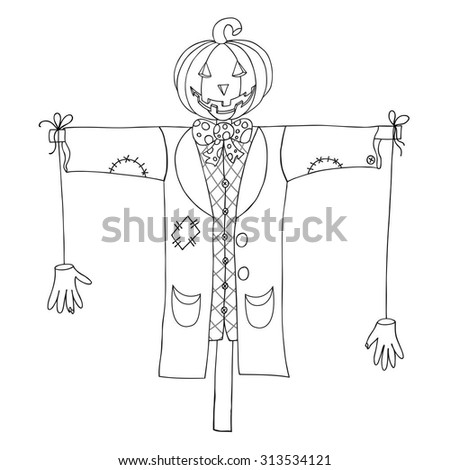 Scarecrow isolated on white background. Can be used for halloween greeting cards. Vector illustration. EPS 10. - stock vector