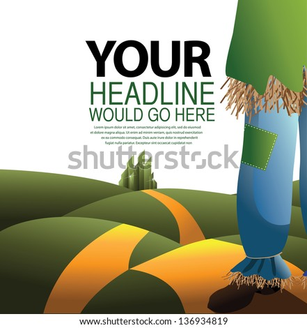 Scarecrow on the road. EPS 10 vector, grouped for easy editing. No open shapes or paths. - stock vector