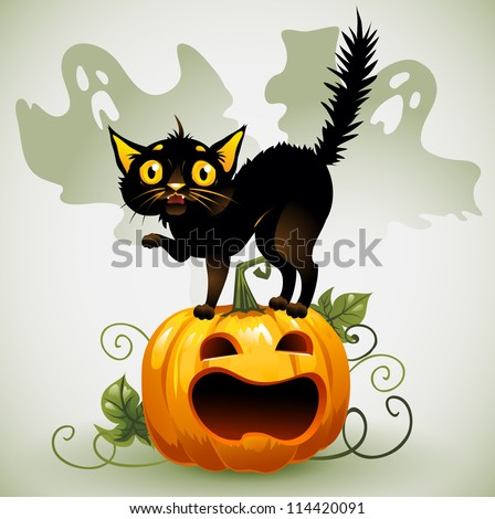 Scared black cat on a pumpkin  and ghost. - stock vector