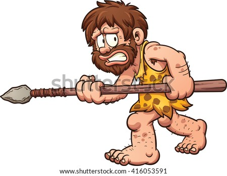 Scared cartoon caveman. Vector clip art illustration with simple gradients. All in a single layer.