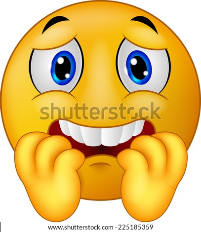 Scared emoticon smiley - stock vector