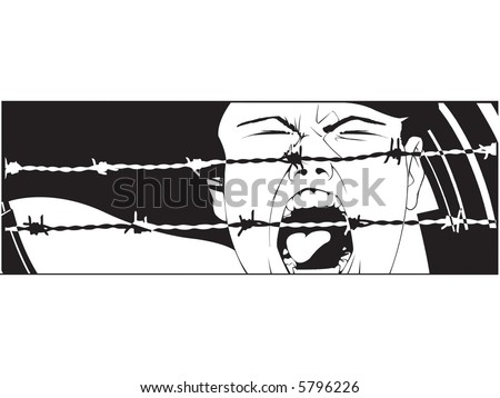 scared girl screaming up loud and a couple of barbed wires, original illustration - stock vector
