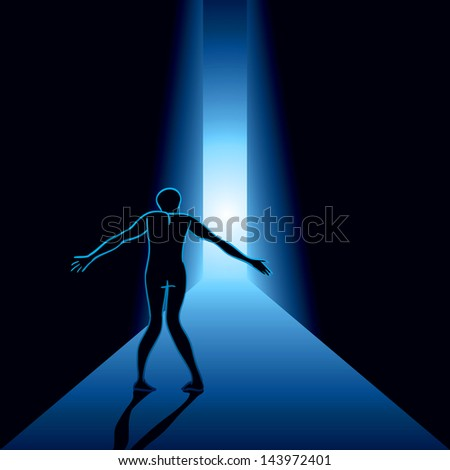 scared man in the hallway - stock vector