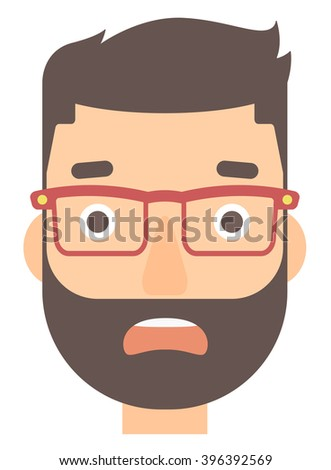 Scared man with open mouth. - stock vector