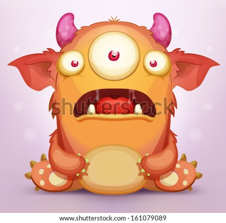 Scared Monster - stock vector