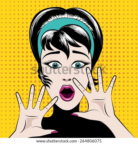 Scared pop art woman with his mouth open and hands raised. Vector illustration - stock vector