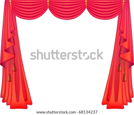 Scarlet curtains - stock vector