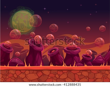 Scary another world vector seamless background for game design, separated layers for parallax effect, alien planet outdoor landscape in red colors - stock vector