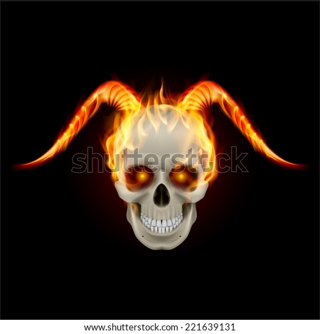 Scary burning skull with demon fire horns - stock vector