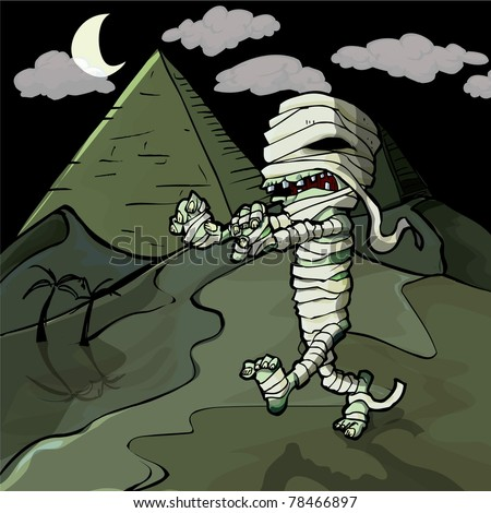 Scary cartoon Egyptian mummy in front of pyramids.