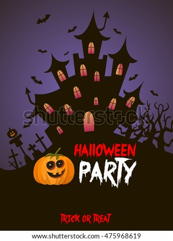 scary castle , halloween party, vector