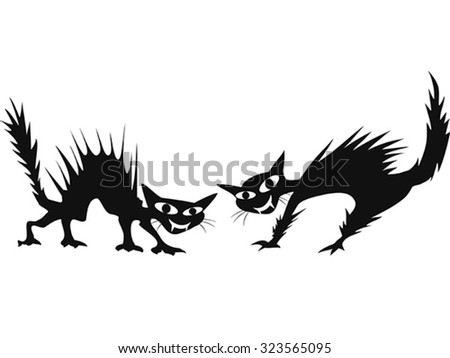scary cat - stock vector