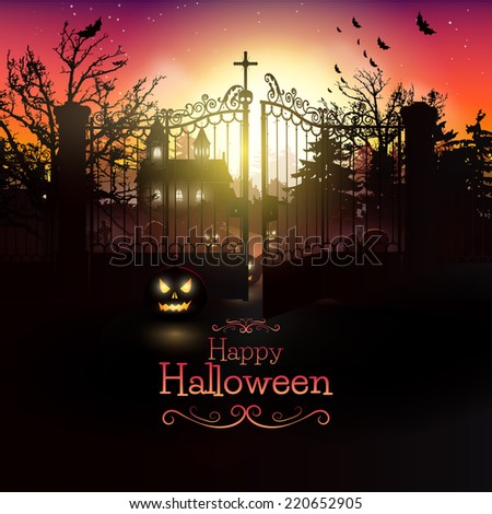 Scary church and graveyard in the woods - Halloween greeting card - stock vector
