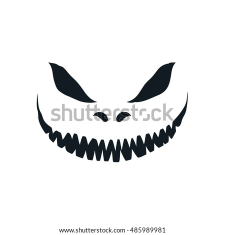 scary face isolated on white background stock vector 485989981