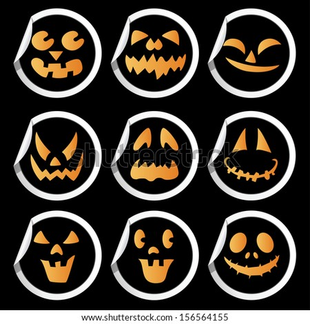 Scary faces of Halloween pumpkin stickers. Vector