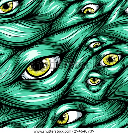 Scary fantasy pattern background.Hair and eyes.yellow eyes in green hair. - stock vector