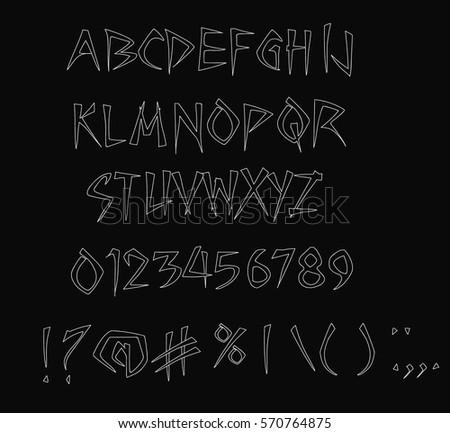 scary font on black handwriting halloween font vector - Halloween Writing Font