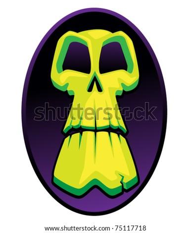 Scary Green Skull - stock vector