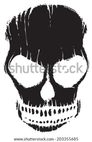 scary grunge scull - stock vector