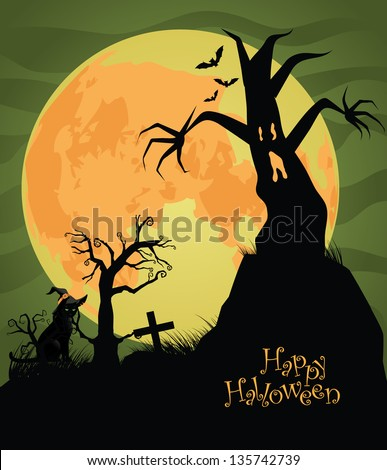 Scary Halloween Background. EPS vector, grouped for easy editing. No pen shapes or paths. - stock vector