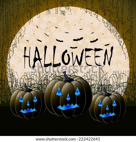 Scary Halloween background. Pumpkin lanterns with glowing eyes in the dark cemetery against huge moon and many bats. - stock vector