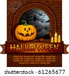 Scary halloween background with tree and moon - stock vector