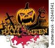 Scary halloween banner. Vector illustration. - stock vector