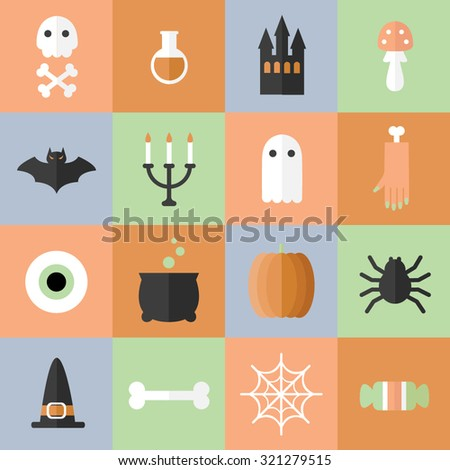 Scary Halloween icons. Colorful horror objects. Bright funny party card. Templates for web. - stock vector