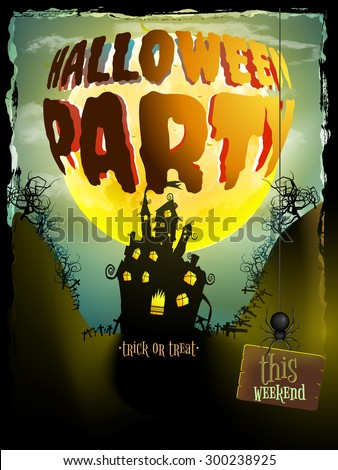 Scary Halloween moonlight night background, can be use as flyer, banner or poster for night parties. EPS 10 vector file included - stock vector