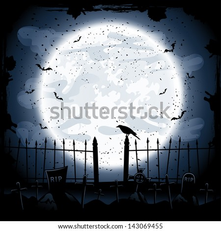 Scary Halloween night background, crow in the cemetery, illustration. - stock vector