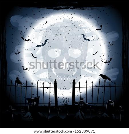 Scary Halloween night background, skull on Moon background, illustration. - stock vector