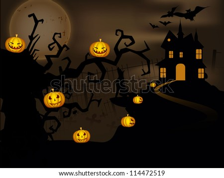 Scary Halloween night background with haunted house, dead trees and hanging pumpkins.. EPS 10. - stock vector