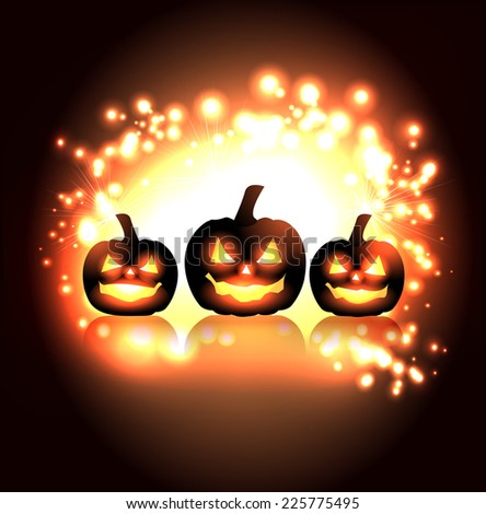 Scary Halloween Pumpkin - stock vector