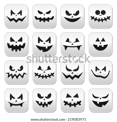 Scary Halloween pumpkin faces buttons set - stock vector