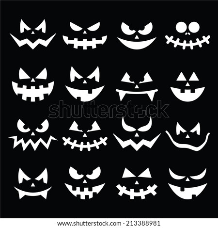 Scary Halloween pumpkin faces icons set - stock vector